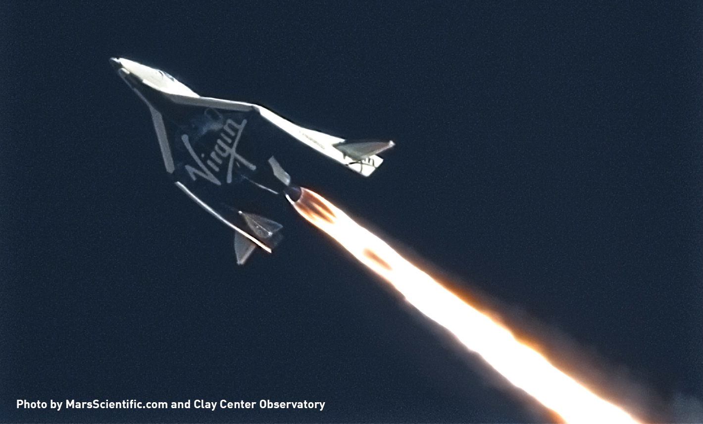 Virgin Galagtic's SpaceShipTwo (Credit: MarsScientific.com and Clay Center Observatory)