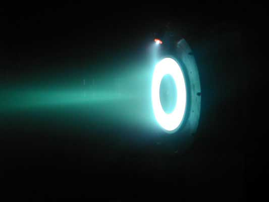 Hall effect thruster, a type of plasma thruster. Source: NASA JPL