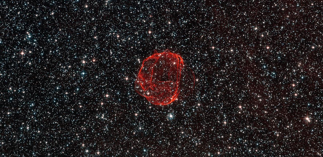Remnants after a white dwarf, SNR 0519. ESA/Hubble & NASA. Acknowledgement: Claude Cornen