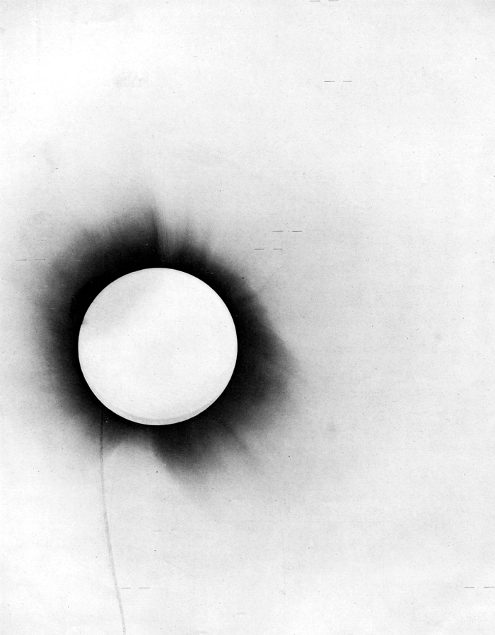 Negative from the solar eclipse observed by Sir Arthur Eddington from Principe, West-Africa in 1919.