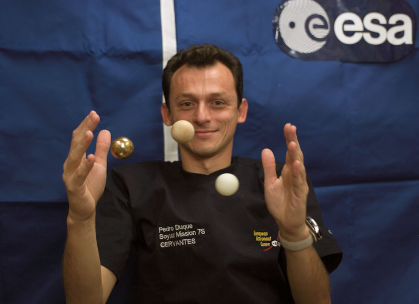 Pedro Duque during the Cervantes mission at ISS