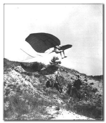 Lilienthal flying the Derwitzer glider, his first model. Source: lilienthal-museum.de