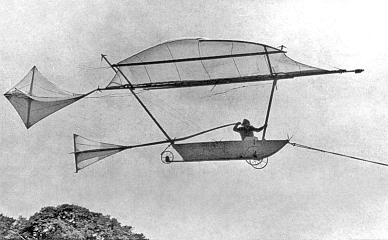 A replica of George Cayley's human-carrying glider.