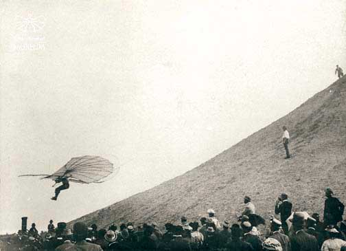 "Lilienthal flying his ""normal glider"" off the Fligeberg"