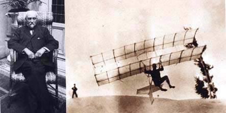 Octave Chanute and one of his glider models