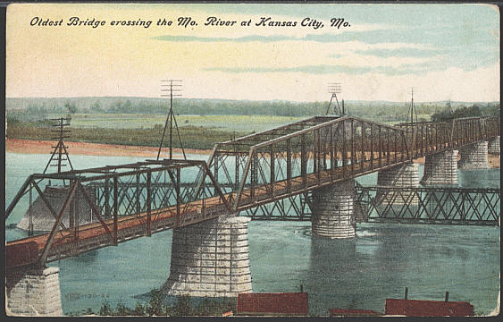 Postcard of the Hannibal Bridge, designed and built by Octave Chanute